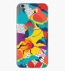 Colorful pattern of macaws, flowers and textures iPhone Case