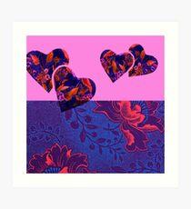 Fuchsia and Purple Floral Hearts Art Print