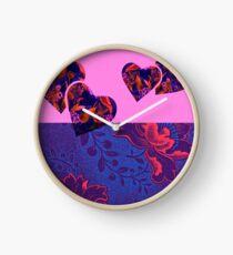 Fuchsia and Purple Floral Hearts Clock