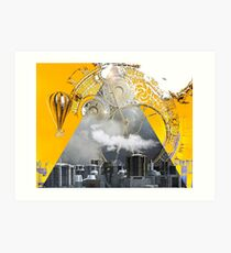 Abstract Collage City Clocks Art Print