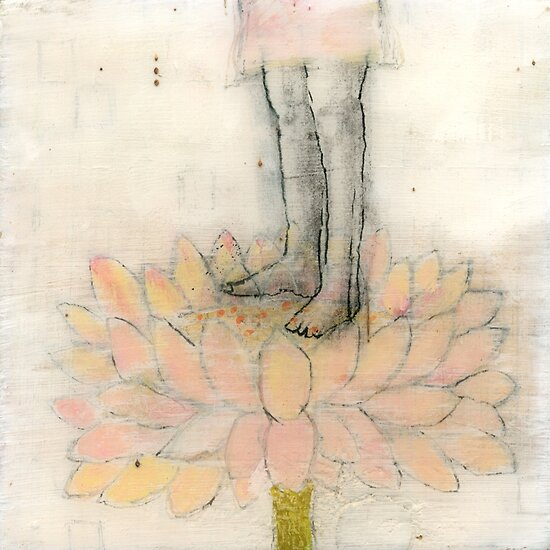 Stepping Into Lotus yoga inspired art by JodiFuchsArt