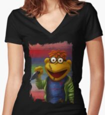 Muppet Maniac - Scooter as Chucky Women's Fitted V-Neck T-Shirt
