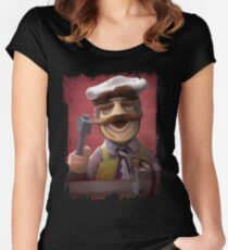 Muppet Maniacs - Swedish Chef as Leatherface Women's Fitted Scoop T-Shirt