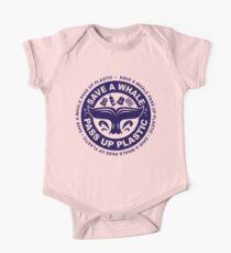 Speichern Sie einen Whale Pass Up Plastic - Save The Whales-Logo Baby Body Kurzarm