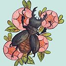 Watercolor handpainted insect floral by Wieskunde