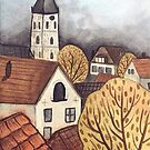 traditional watercolor landscape town illustration by Wieskunde