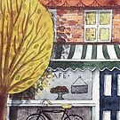 Traditional watercolor cafe shop illustration by Wieskunde