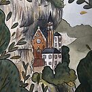 Traditional watercolor landscape moantain town illustration by Wieskunde