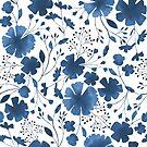 «Acuarela floral azul en todo el patrón» de Dizzywonders
