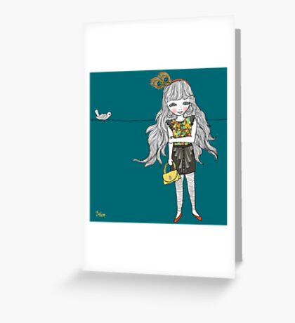 Miss Peacock Greeting Card