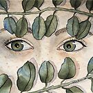 Traditional watercolor illustration eyes and leaves by Wieskunde