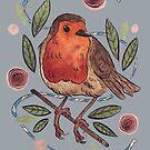 Watercolor handpainted robin spring by Wieskunde