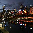 Melbourne city skyline at sunset by Sangeeta