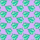 Watercolor Monstera Leaves on Purple by TimorousEclectc
