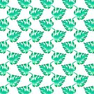 Watercolor Monstera Leaves on White by TimorousEclectc