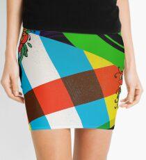 Color Block Floral Mini Skirt