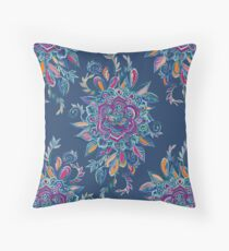 Deep Summer - Watercolor Floral Medallion Throw Pillow