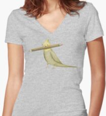 Cockatiel & Pencil Women's Fitted V-Neck T-Shirt
