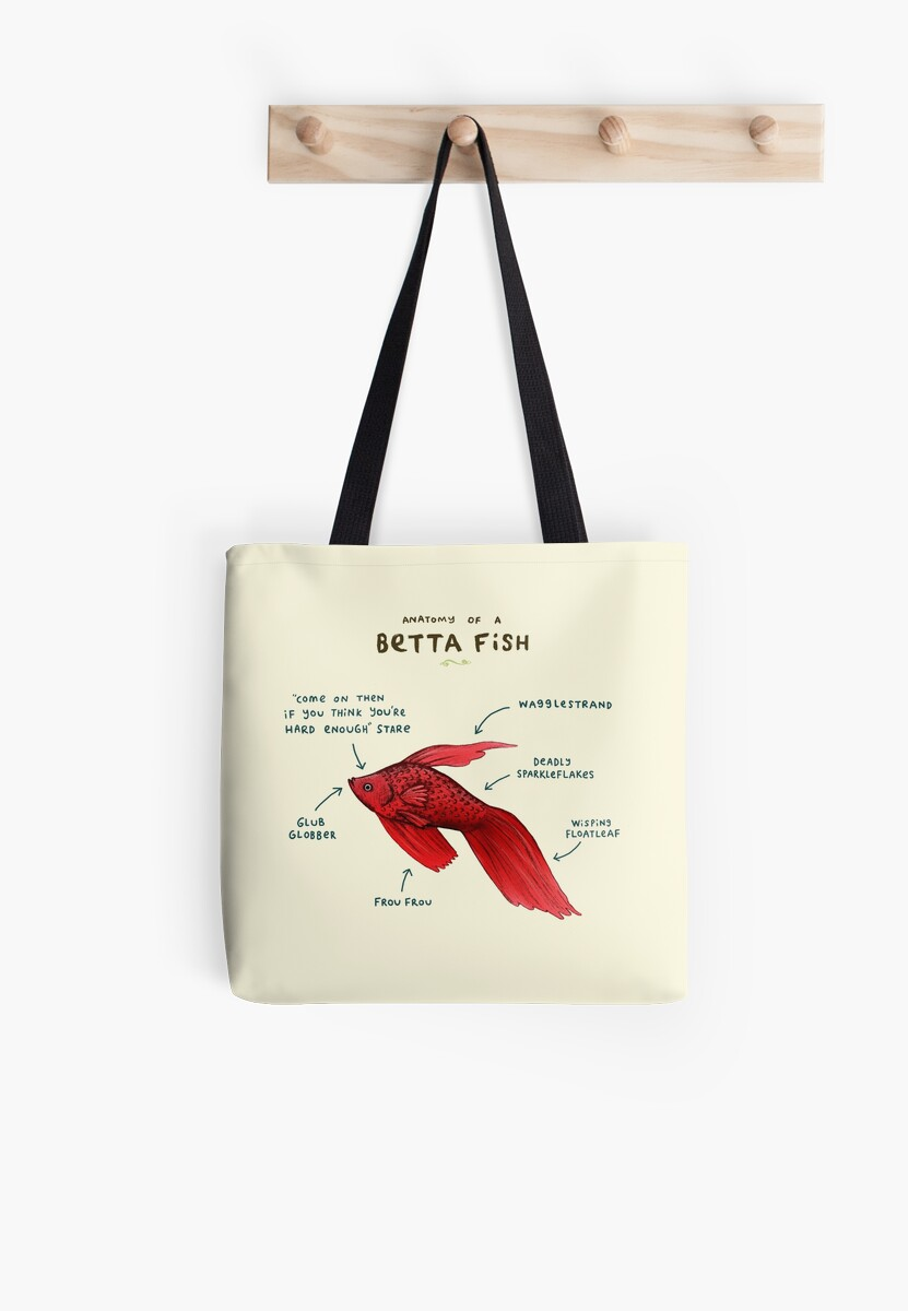 Anatomy Of A Betta Fish Tote Bags By Sophie Corrigan Redbubble