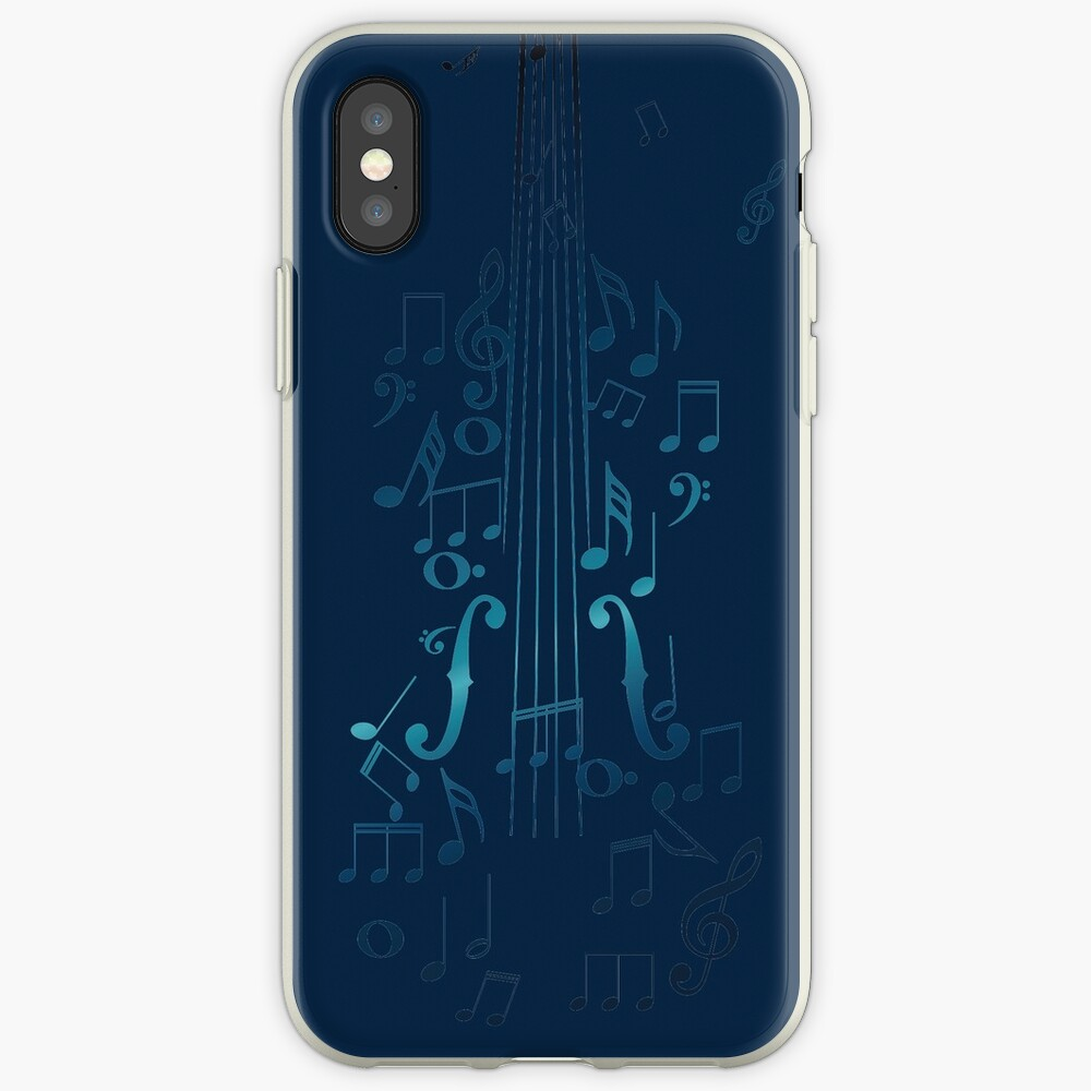 Blaue Violine mit Noten iPhone-Hülle & Cover