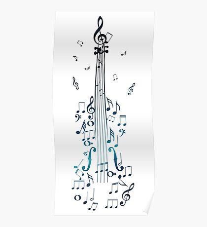 Blaue Violine mit Noten Poster