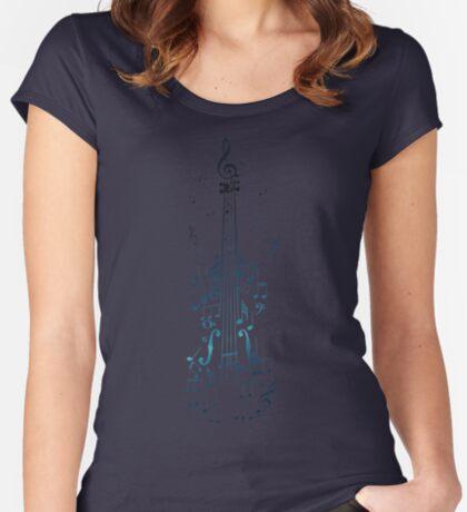 Blaue Violine mit Noten Tailliertes Rundhals-Shirt