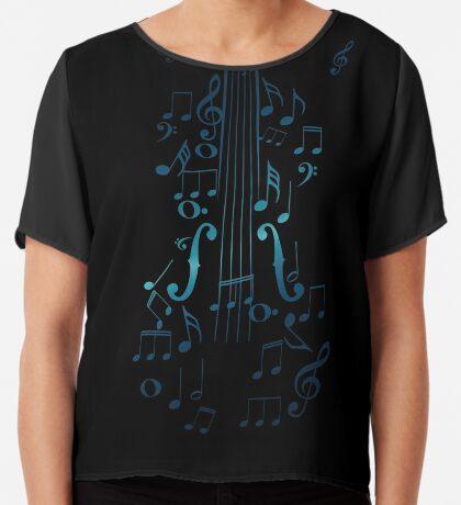 Blaue Violine mit Noten Chiffontop