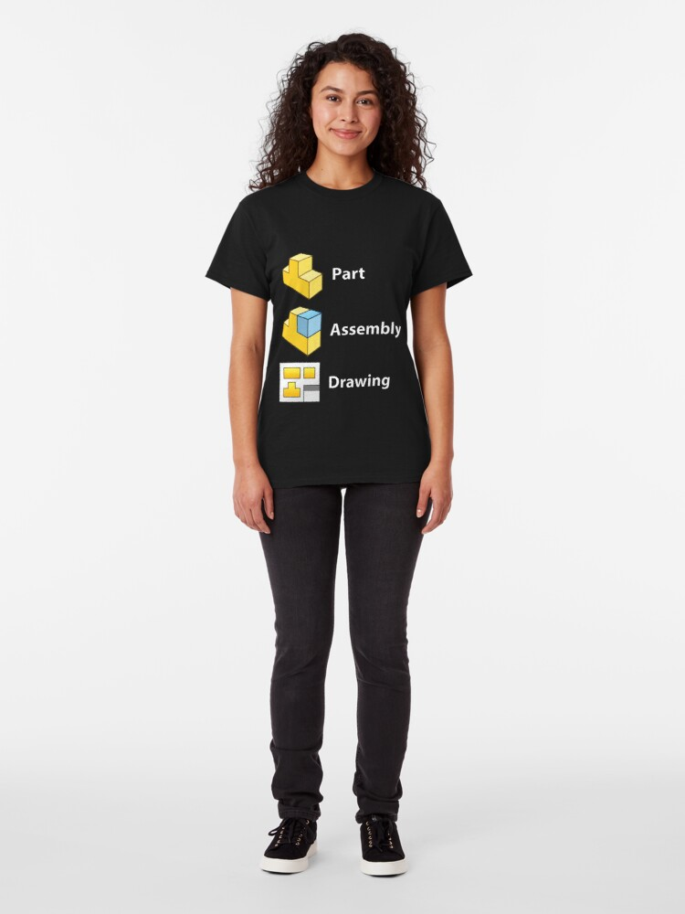 Alternate view of 3D Cad/Cam/Cae Solid Works | Black Version Classic T-Shirt