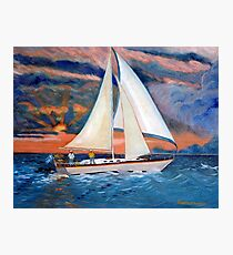 Sunset and Yacht Photographic Print