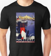 Marseille Vintage Travel Poster Restored T-Shirt