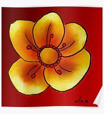 Yellow buttercup flower Poster