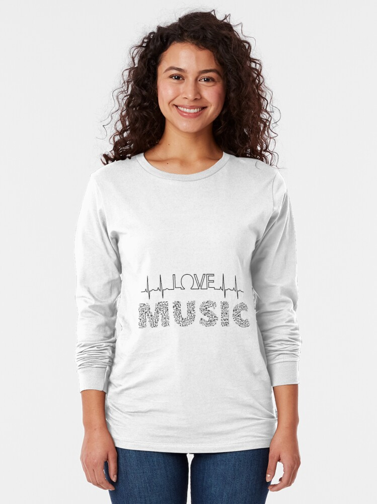 Alternate view of Love Music Musical notes Heartbeat Long Sleeve T-Shirt