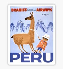 Peru Vintage Travel Poster Restored Sticker