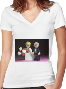 Lego Bride and Groom Women's Fitted V-Neck T-Shirt