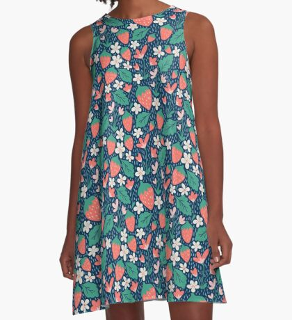 Spring Strawberries on Blue A-Line Dress