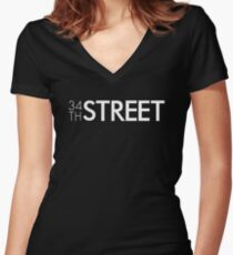 34th Street Magazine White Logo Fitted V-Neck T-Shirt