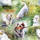 Clumber Spaniels by Jan Irving green by JAN IRVING