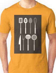 Kitchen Utensil Silhouettes Monochrome Unisex T-Shirt