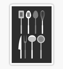 Kitchen Utensil Silhouettes Monochrome Sticker