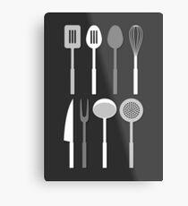 Kitchen Utensil Silhouettes Monochrome Metal Print