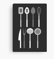 Kitchen Utensil Silhouettes Monochrome Canvas Print