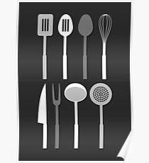 Kitchen Utensil Silhouettes Monochrome Poster