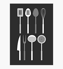 Kitchen Utensil Silhouettes Monochrome Photographic Print