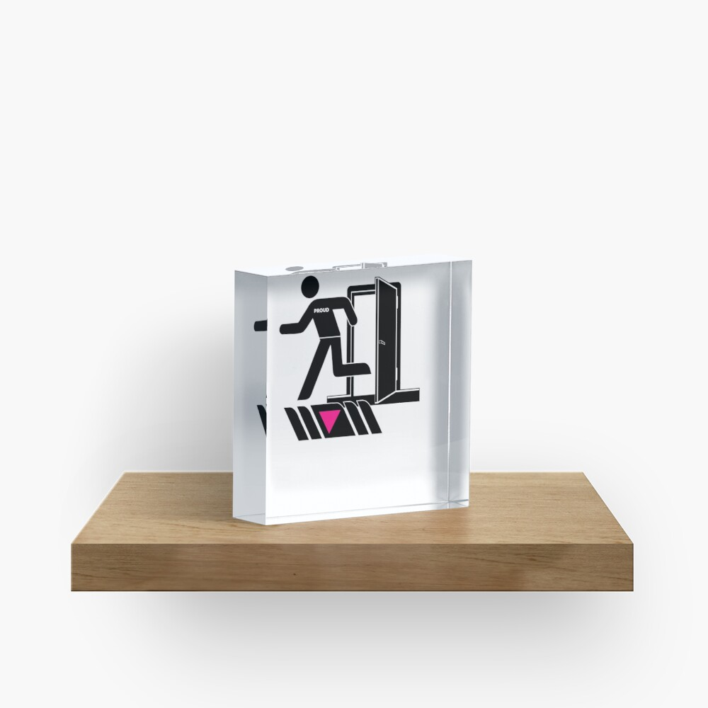 Out and Proud Pink Triangle Flag Pride Acrylic Block