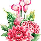 «Acuarela ramo de flores de dalia y calla lily» de Ekaterina Glazkova