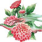 «Dragón volador de acuarela en colores verde y rosa decorado con dalias.» de Ekaterina Glazkova