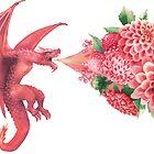 «Dragón volador de acuarela exhala la llama de las flores.» de Ekaterina Glazkova