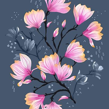 Pink Watercolor Magnolia Melancholy Floral Pattern by marketastengl