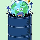 Earth in panic asking for help when drowning in oil barrel by Zoo-co