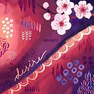 Desire / Red and Purple Abstract Art with Cherry Blossom by Markéta Stengl